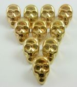 Gold Coloured Metal Skull Studs - Pack of 10 Studs